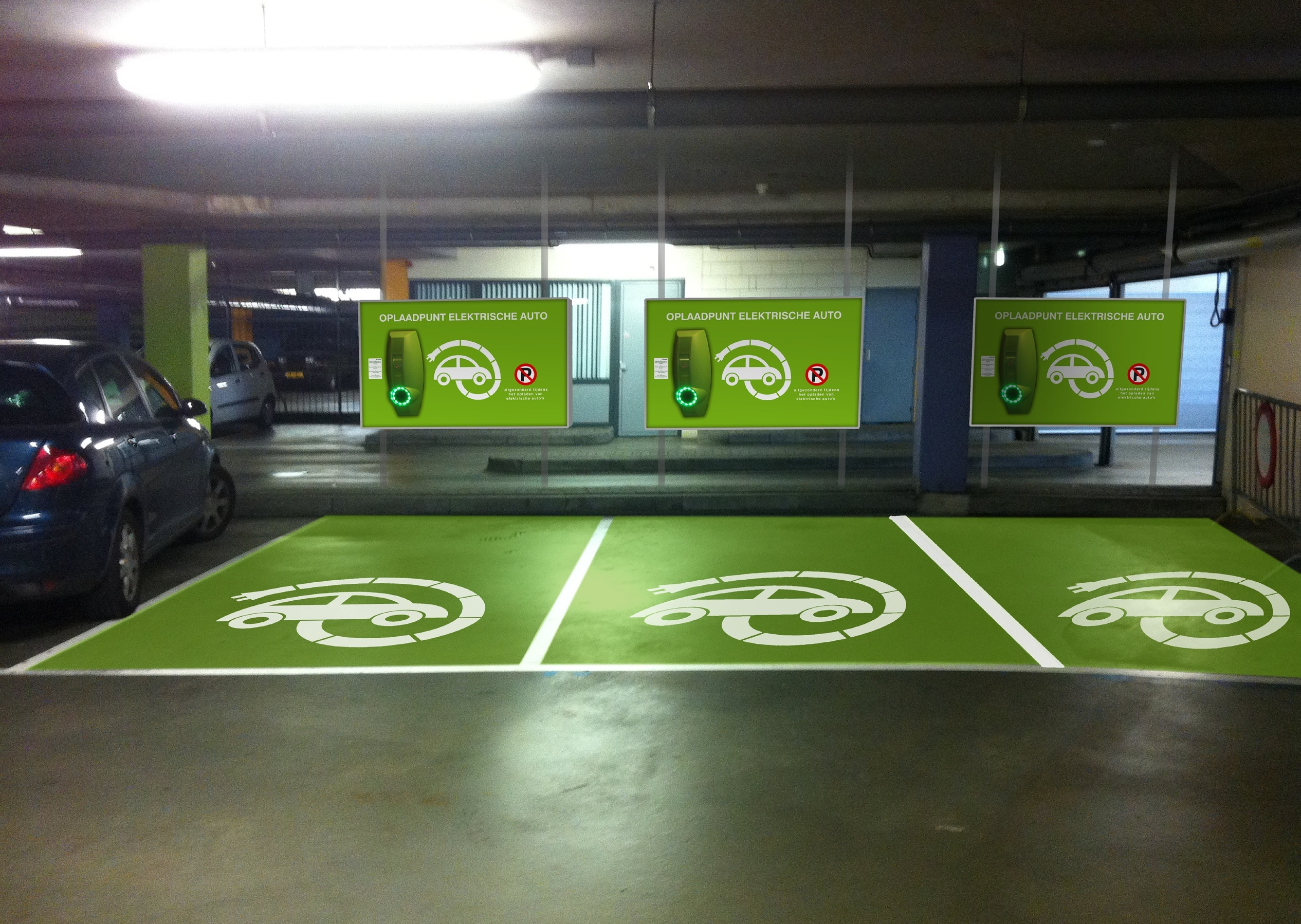 On Wall Electric Car Charges
